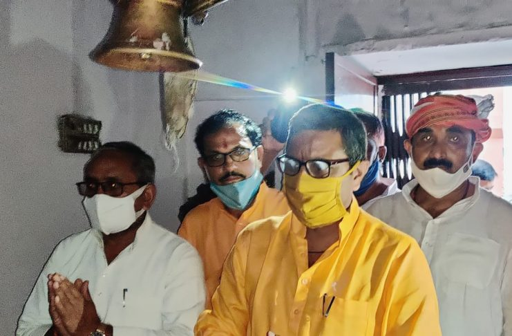 Arrival of Minister of State for Tourism and Charity Affairs Dr. Neelkanth Tiwari at Parshuram Dham located in Sohnag of Salempur