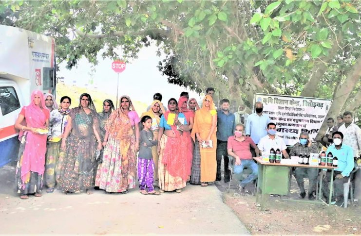 Distributed mineral mixer and anti-worm medicine to farmers