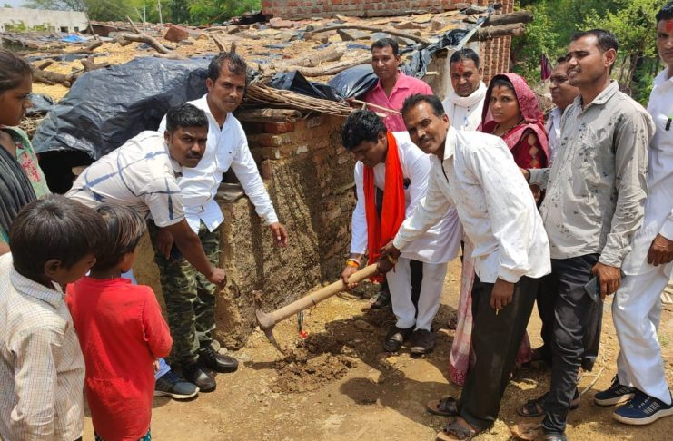 Muhurta of foundation done by Pradhan by worshiping the land
