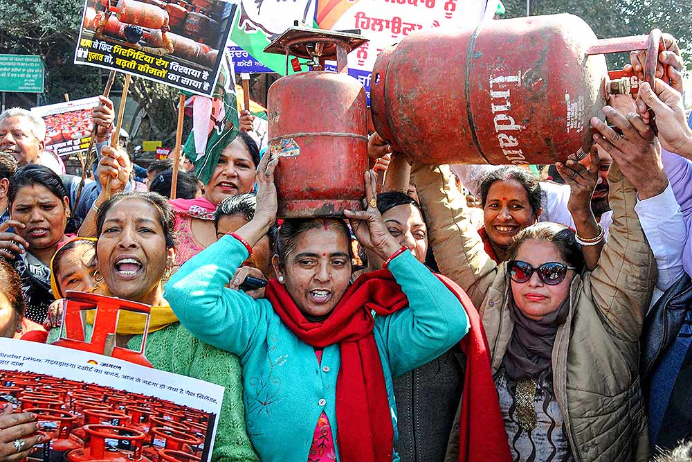 Nationalist Congress Party's protest over the increase in the price of cooking gas
